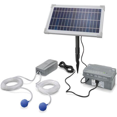 Aérateur de bassin solaire 8W 200 l/h + batterie aération de bassin oxygène esotec 101846