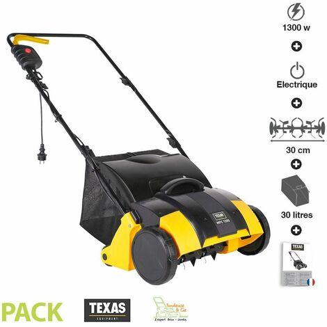 Aérateur démousseur électrique de pelouse 1300W travail 34 cm 3 profondeurs travail Texas MPC1300 - Jaune