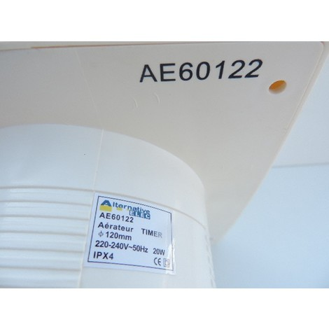 Aerateur mural blanc Ø 120mm temporisé 1-20min 230V débit 195m3/h 20W 39db TIMER ALTERNATIVE ELEC AE60122