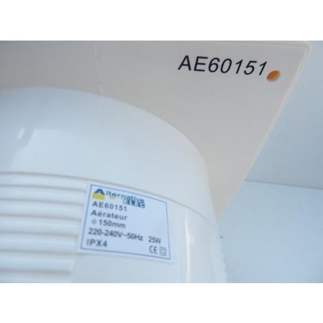 Aerateur mural blanc Ø 150mm 230V débit 320m3/h 25W 41db standard ALTERNATIVE ELEC AE60151
