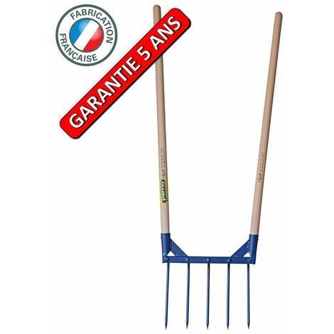 Aerogrif' 5 dents 2 manches 1,10 m, type Grelinette, outil de jardinage biologique
