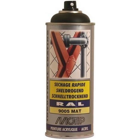 AEROSOL Peinture ACRYLIQUE : Noir Profond Mat Satin RAL 9005 - MO07164