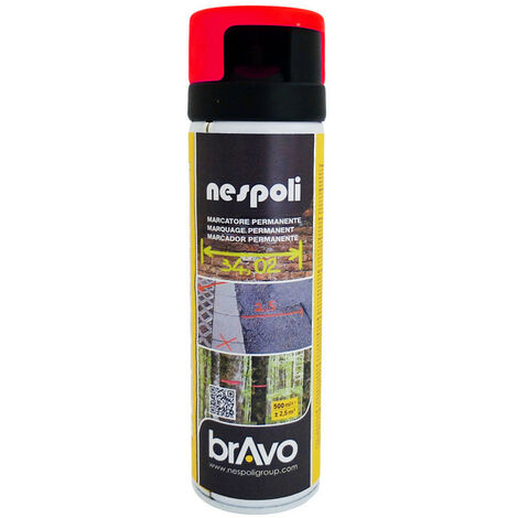 Aérosol traceur de chantier rouge fluo 500 ml, NESPOLI
