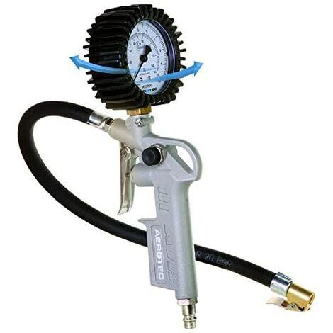 Aerotec 200548 - Inflador de neumáticos profesional con manguera y kit de adaptadores, 10 bares