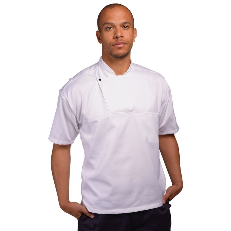 Image of Mens Short Sleeve Chefs Tunic (XS) (White) - AFD