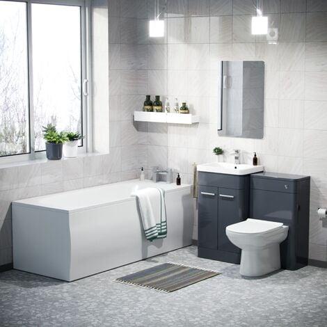 Afern 500mm Basin Vanity Unit, WC Unit, BTW Toilet & Bath Suite Anthracite