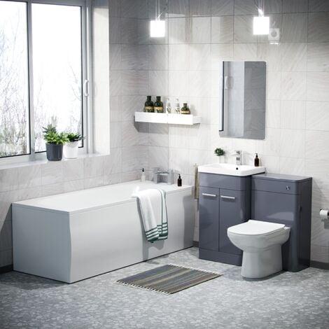 Afern 500mm Basin Vanity Unit, WC Unit, BTW Toilet & Bath Suite Steel Grey