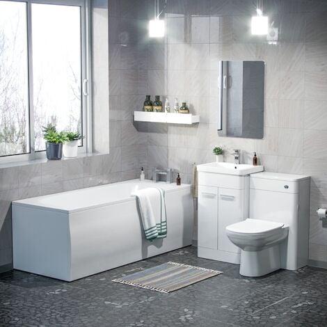 Afern 500mm Basin Vanity Unit, WC Unit, BTW Toilet & Bath Suite White