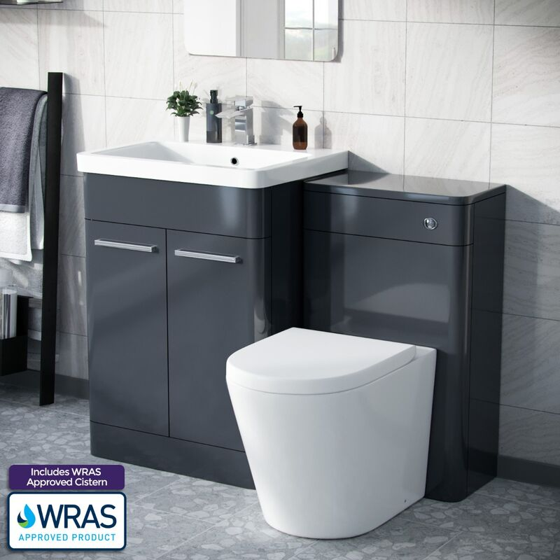 Neshome - Afern 600mm Vanity Basin Unit, WC Unit & Round Back to Wall Toilet Anthracite