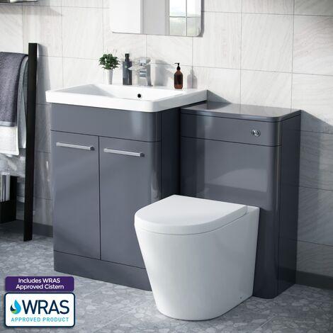 Afern 600mm Freestanding Basin Vanity Unit, WC Unit & BTW Space Saving Round Toilet Steel Grey