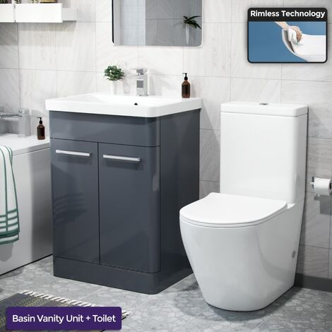 """main image of """"Afern 600mm Freestanding Vanity Unit, Curved Rimless Close Coupled Toilet Anthracite"""""""