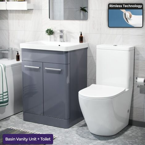 """main image of """"Afern 600mm Freestanding Vanity Unit, Curved Rimless Close Coupled Toilet Steel Grey"""""""