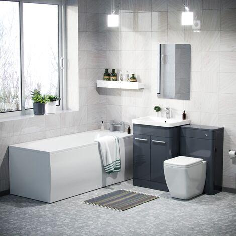 Afern 600mm Vanity Unit, WC Unit and Square BTW Toilet & Bath Suite