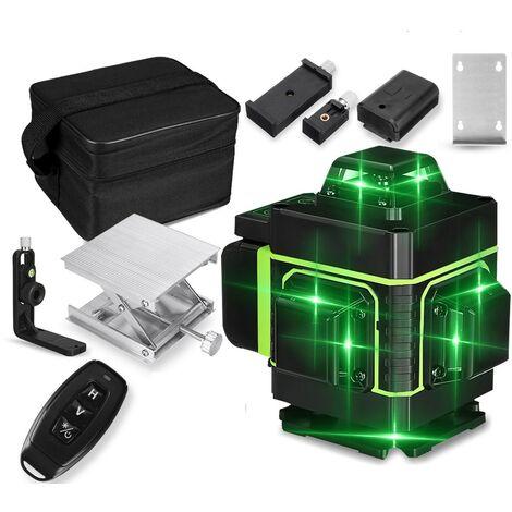 Affichage à LED 4D Niveau Laser Lumière Verte 360 ° Outil de mesure de nivellement automatique en croix à 16 lignes