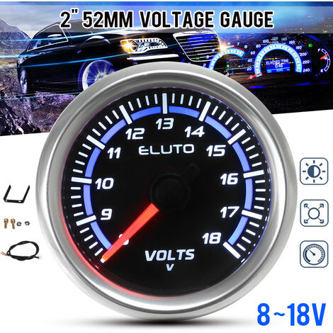 """Affichage à LED de jauge de voltmètre de voiture de 2 """"52mm 8-18V universel Auto Volt pointeur mètre noir Face bo?tier argent pour Honda pour Toyota"""