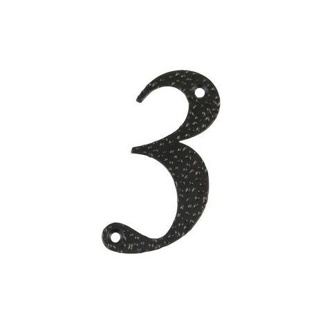 Affichage numéro 3 -m.4 noir 10cm.