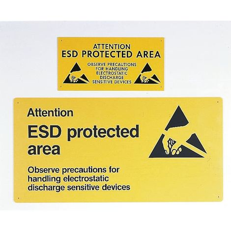 """Affiche ESD Jaune, """"Attention ! Esd Protected Area"""", Dimensions 300 x 600mm"""
