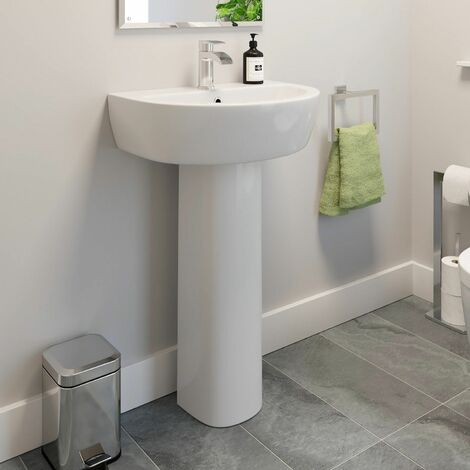 Affine Bordeaux Full Pedestal Bathroom Sink