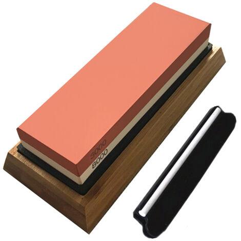 Afilado con piedras engastadas doble Grit 3000/8000 con la Guia del resbalon de silicona y bambu Base angulo Waterstone piedra de afilar afilador de cuchillos