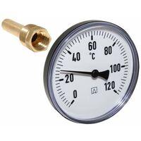 "Afriso Bimetall Thermometer mit Tauchhülse 1/2"" AG Ø 100mm Länge 63mm 63695"