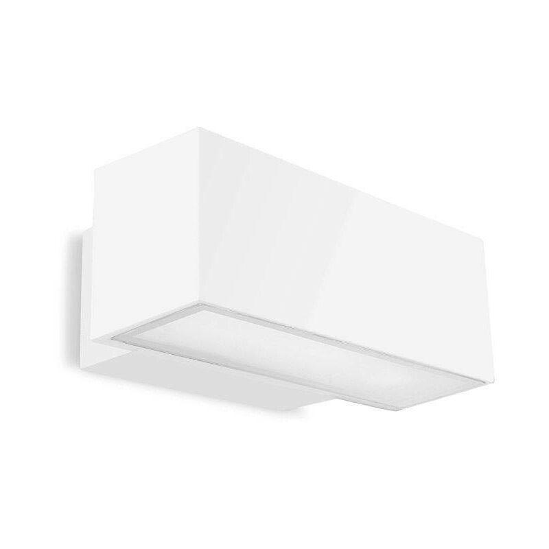 Afrodita fluoreszierende Wandleuchte, Aluminium und Glas, weiß, 30 cm