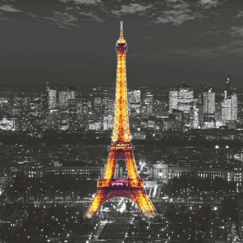 Image of Photo Mural Eiffel In The Night - Black - Ag Design