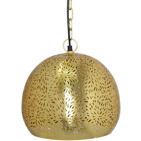 Agadir Gold Hanging Lamp Basket with Rice Etching