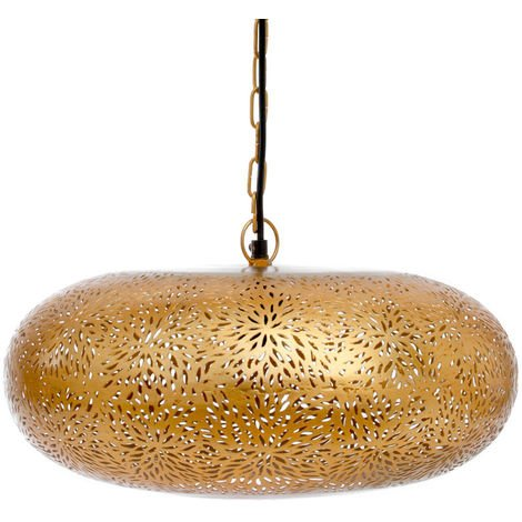 Agadir Gold Hanging Lamp Tyre with Rice Etching, 32cm Dia.
