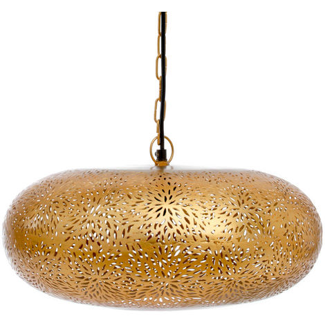 Agadir Gold Hanging Lamp Tyre with Rice Etching, 42cm Dia.