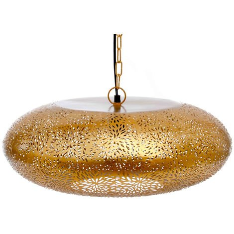 Agadir Gold Hanging Lamp Tyre with Rice Etching, 49cm Dia.