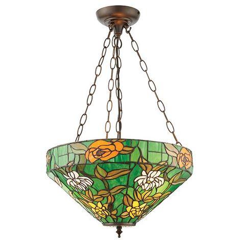 Agapantha Green Medium Inverted Tiffany Style 3Lt Ceiling Pendant Floral Design