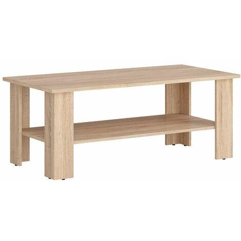 AGATTA - Table basse salon séjour - Style scandinave - 115x56x45.5 cm - Étagère sous le plateau - Panneau mélaminé - Sonoma