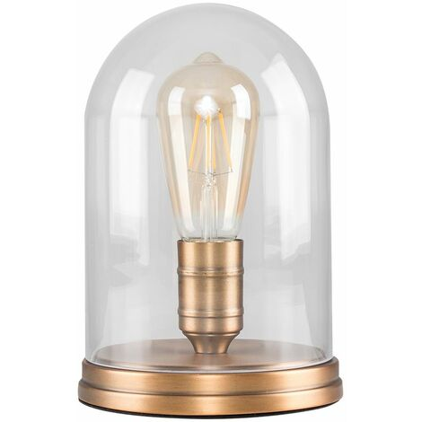 Aged Brass Effect Metal Base Table Lamp Clear Glass Domed Shade
