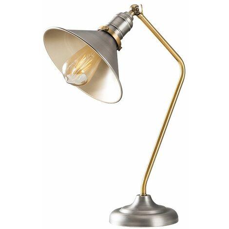 Aged Nickel & Gold Metal Adjustable Bedside Desk Table Lamp + 4W LED Filament Bulb Warm White