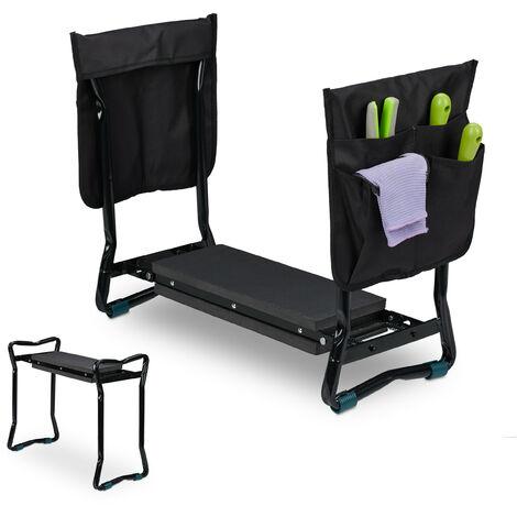Agenouilloir pour jardinage, banc pliable genoux, jusqu'à 150 kg, 2 sacs, rembourré, 50x60x27,5 cm, noir