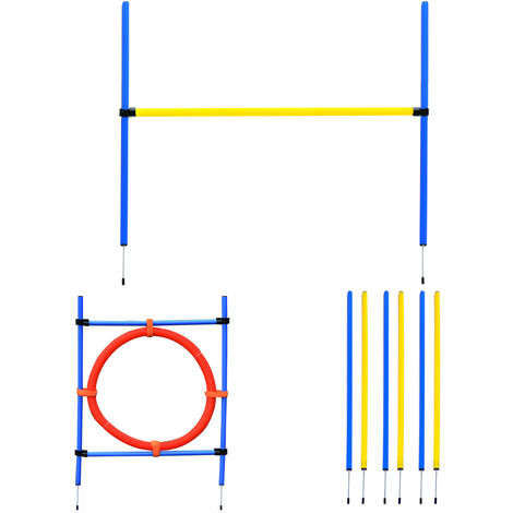 Agility sport pour chiens équipement complet : 6 poteaux slalom, obstacle, anneau + sac de transport bleu jaune rouge - Bleu