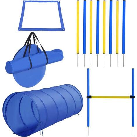 Agility sport pour chiens équipement complet obstacle, tunnel, slalom, zone repos + sac de transport bleu jaune