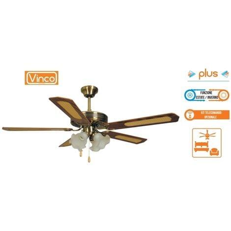 Agitatore/Ventilatore da soffitto con 5 pale in legno noce scuro 4 lampade Vinco - 70900