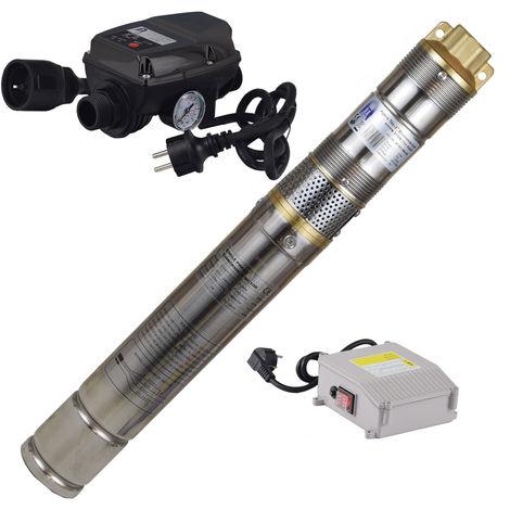 Agora-Tec® 3 Zoll sandverträgliche , sandresistente Brunnenpumpe Tiefbrunnenpumpe Schraubenpumpe 370W-screw-5DW - Set mi