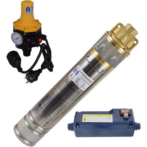 Agora-Tec® 4 Zoll 750-3DW Hochdruck Tauchpumpe für Zisternen und Wassertanks inkl. Pumpensteuerung für Haus und Garten