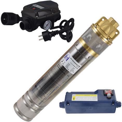 Agora-Tec® 4 Zoll 750-5DW Hochdruck Tauchpumpe für Zisternen und Wassertanks inkl. Pumpensteuerung für Haus und Garten