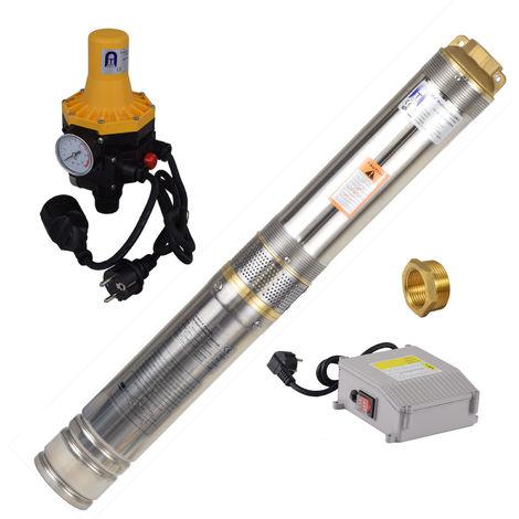 Agora-Tec® 4 Zoll Brunnenpumpe Tiefbrunnenpumpe 550W-4-3DW Set mit Druckschalter und Trockenlaufschutz