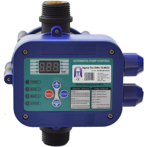 Agora-Tec® Pumpen Steuerung Druckschalter Durchflusswächter AT-DWv-15-MCU verkabelt ( Abschalt Druck einstellbar) mit Trockenlaufschutz (MCU), Überdruck Überwachung