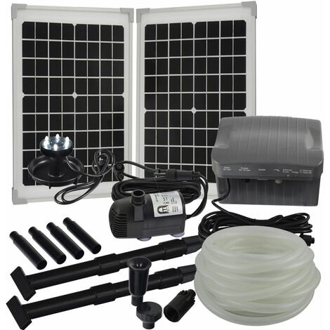 Agora-Tec® Solar Bachlauf - Pumpen - Set mit Akku und LED Licht AT-20W-BLH-V2.0_monokristallin