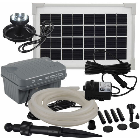 Agora-Tec® Solar Bachlauf - Pumpen - Set mit Akku und LED Licht AT-3.5W-BLH-V2.0