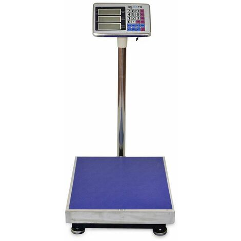 AgoraDirect - Balance Industrielle 300kg/50g, Écran LCD Numérique, Grande Plate-forme En Acier Inoxydable 50x40cm, Balance Pour Colis Postaux Lourds Pour Peser Au Bureau De Poste