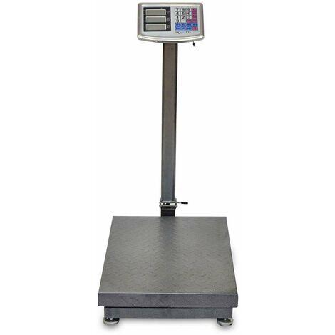 AgoraDirect - Báscula Industrial De Plataforma 500kg/100g, Plegable, Pantalla LCD Digital De Doble Cara, Plataforma De Acero Tratada Térmicamente 45x60cm, Balanza Industrial Para Paquetería