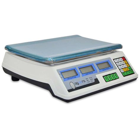 AgoraDirect - Commercial Scale 40kg/2g, Stainless Steel Platform 33x24cm, Rechargeable Battery with 40h Battery Autonomy, Double LCD Display, Professional Digital Scale For Retail Outlets