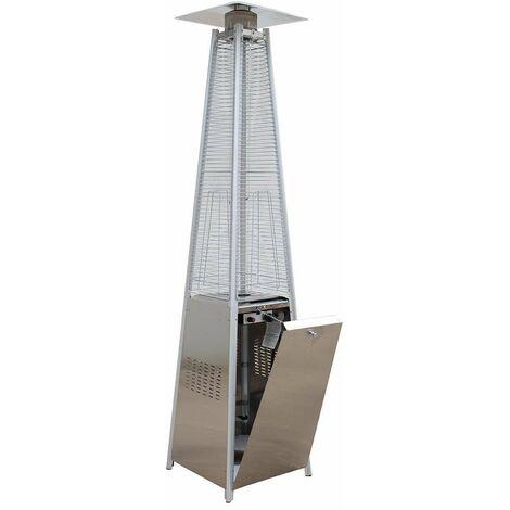 Agoradirect - Estufa De Gas Exterior, Acero Inoxidable, Diseño Pirámide, Potencia 13kw con Regulador Y Manguera, Altura 2,2m, para Jardines, Patios, Porches, Terrazas, Bares, Restaurantes