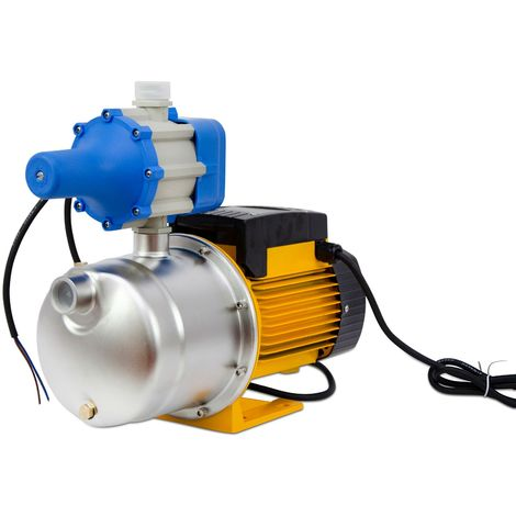 """AgoraDirect - Garden Water Pump 900W, 4.44m3/h, Stainless Steel, Max Depth 50m, 1"""", Cable 85cm, 2850RPM, IPX4, Electric Pump w/ Pressure Switch, Brass Impeller, Self Priming Pump, Electric Jet Pump"""